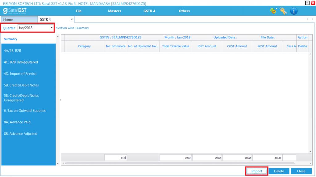GSTR 4 filing procedure