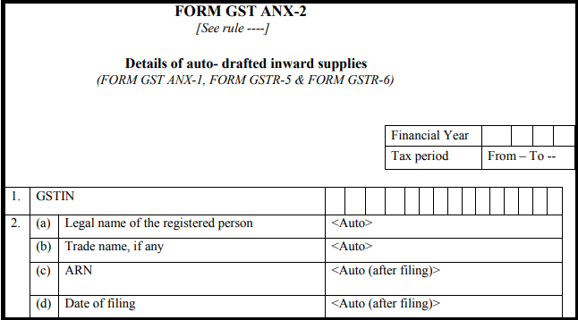 GST normal form - Form GST ANX-2-1.