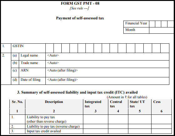 GST normal form - Form GST PMT-08-1