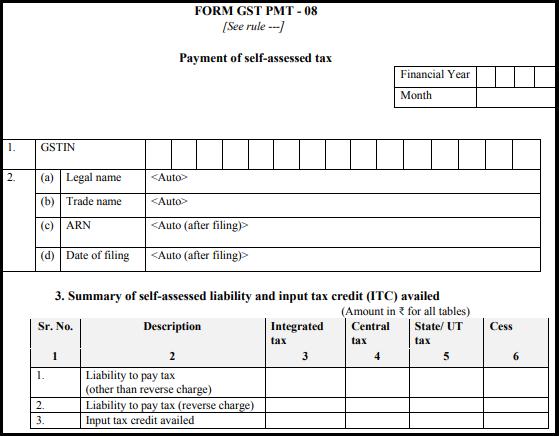 GST normal form - Form GST PMT-08-1