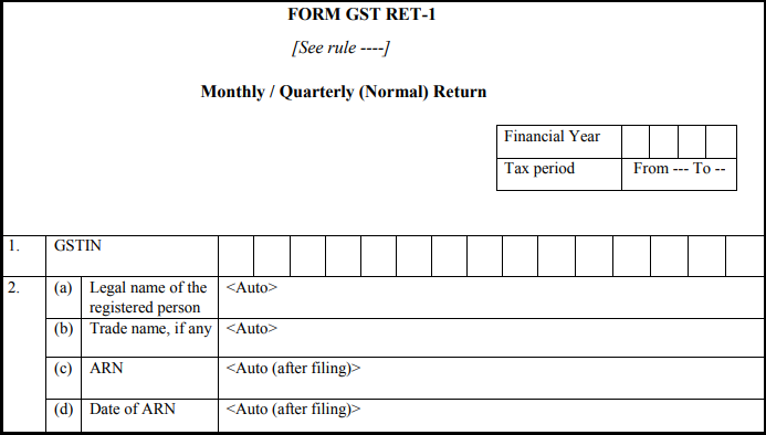 GST normal form - Form GST RET-1-1