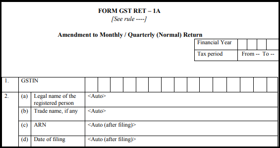GST normal form - Form GST RET-1A-1