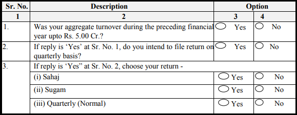 GST normal return form - Profile updation