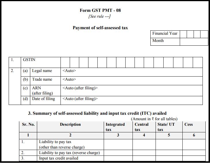 GST sugam return form - Form GST PMT-08