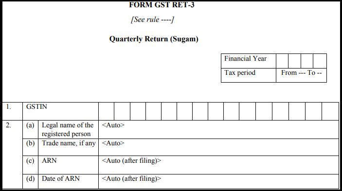 GST sugam return form - GST RET-3