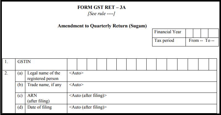 GST sugam return form - GST RET-3A