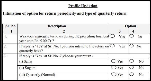 GST sugam return form - Profile updation