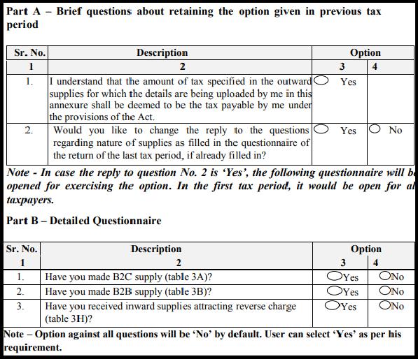 GST sugam return form - Questionnaire form GST ANX-1