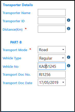 E-way Bill in Saral GST - enter transporter details