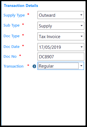E-way Bill in Saral GST - enter transaction details