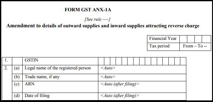 GST Sahaj return form - GST ANX-1A