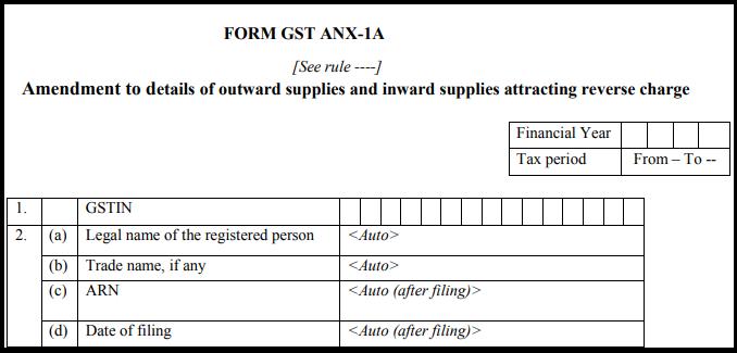 GST Sahaj return form - GST ANX-1A