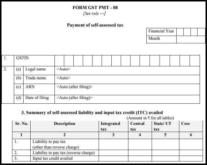 GST Sahaj return form - GST PMT-08