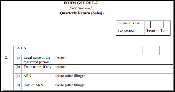 GST Sahaj return form - GST RET-2
