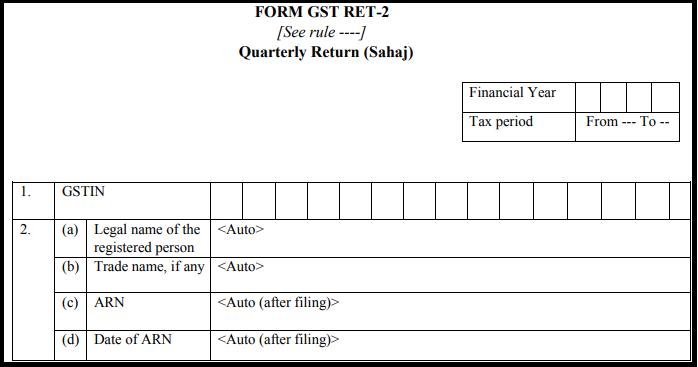 GST Sahaj return form - GST RET-2