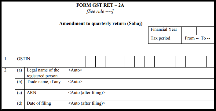 GST Sahaj return form - GST RET-2A