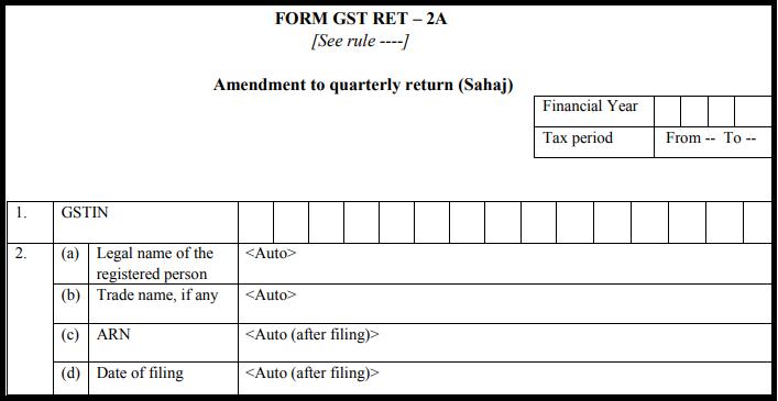 GST Sahaj return form - GST RET-2A