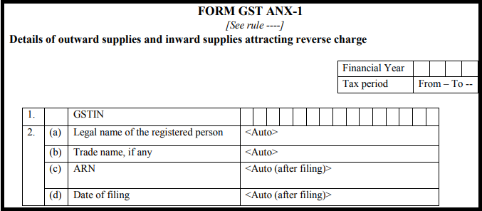 GST return form Sahaj - GST ANX-1