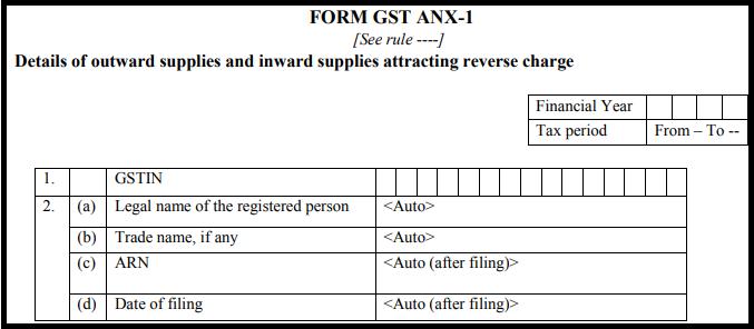 GST return form Sahaj - GST ANX-1