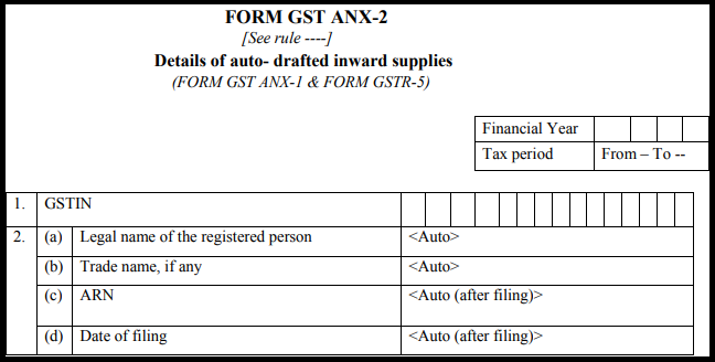 GST Sahaj return form - GST ANX-2