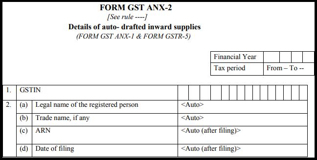 GST Sahaj return form - GST ANX-2