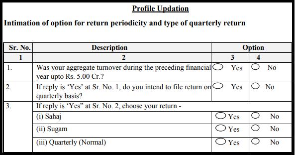 GST return form Sahaj - Profile updation