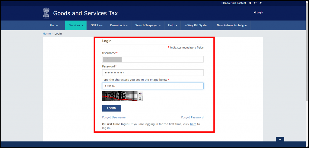 Steps for GST Payment Challan - login with login credentials