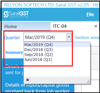 ITC-04 details in Saral GST - quarter