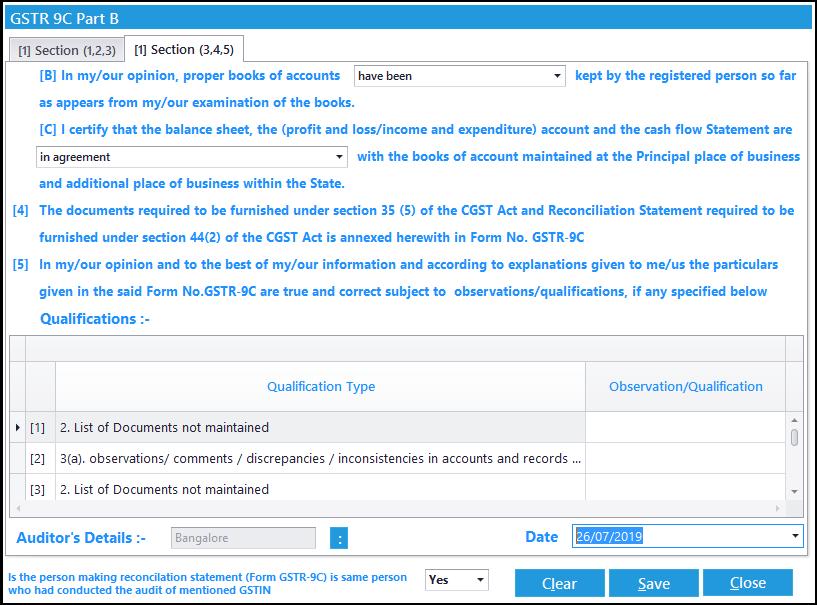 12. GSTR-9C entry -2nd audit info