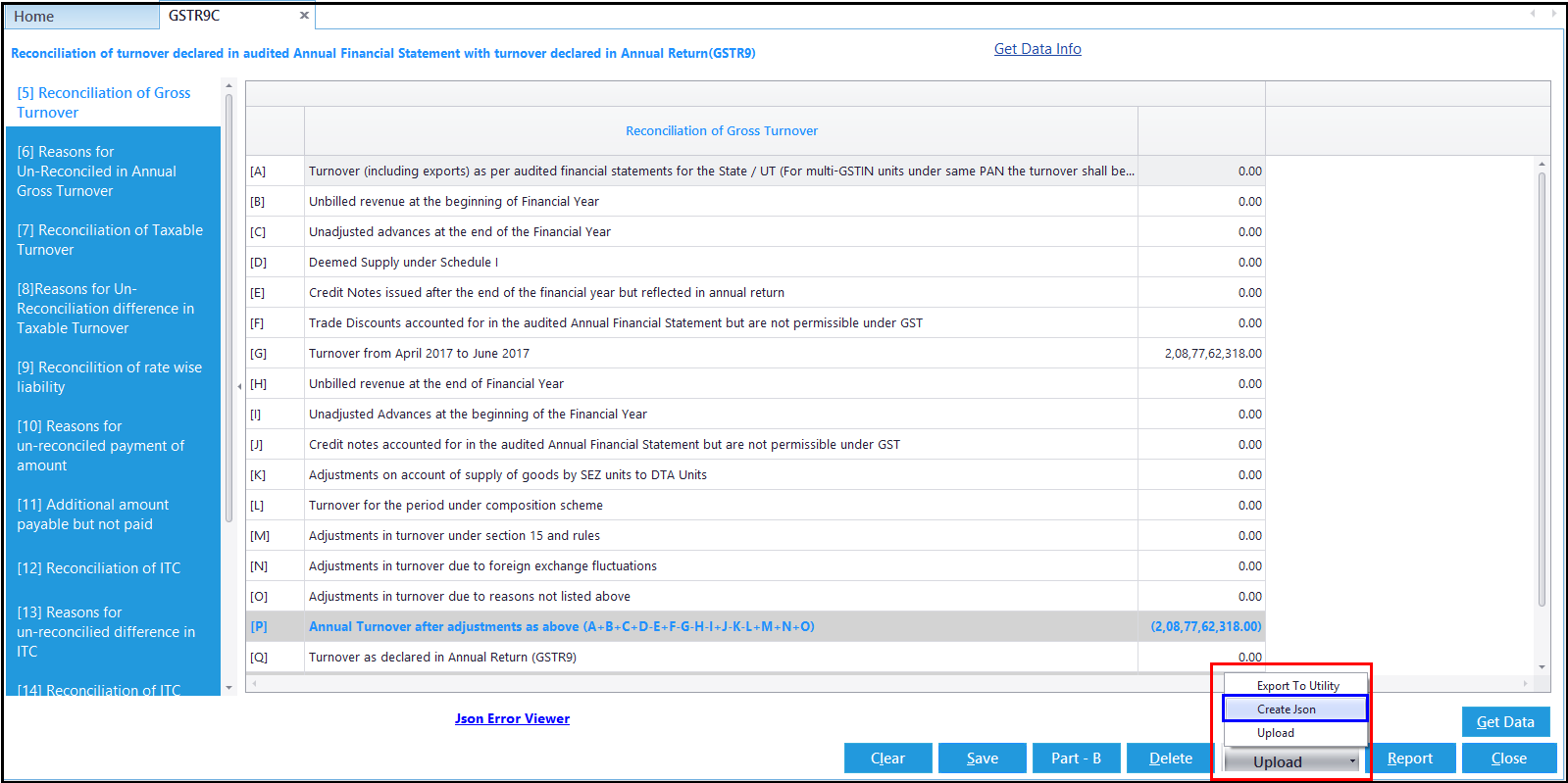 2.GSTR-9C JSON creation and upload-Create JSON