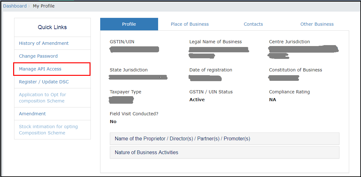 4.OTP Management in SARAL GST - Manage API access.