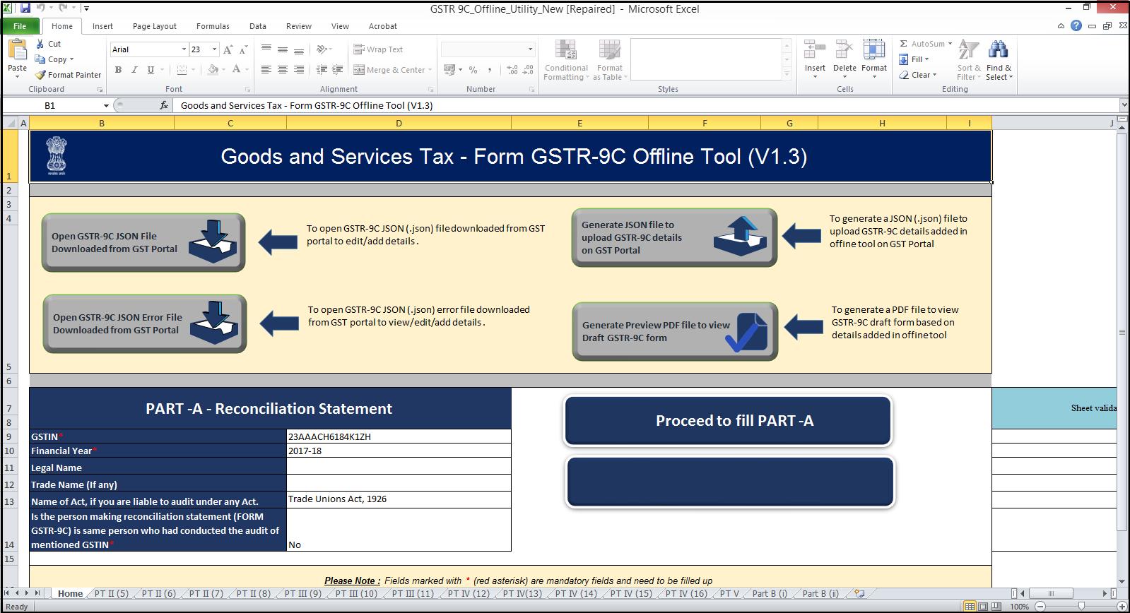 5.GSTR-9C JSON creation and upload-GST portal