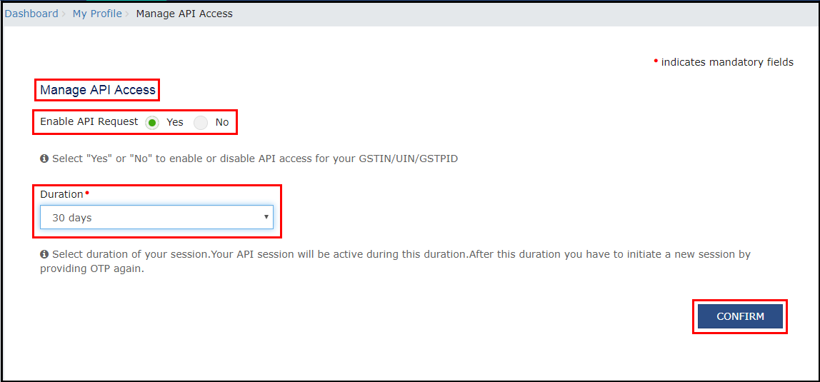 5.OTP Management in SARAL GST - Enable API Request.