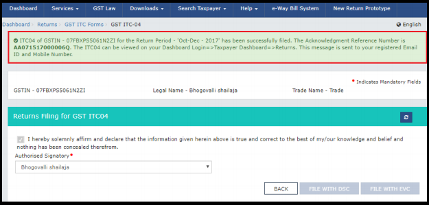 how to file itc-04 in gst portal 6