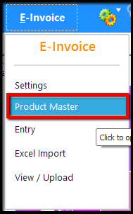 3.E-Invoice generation through Saral GST-product master