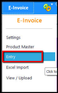 5.E-Invoice generation through Saral GST-entry