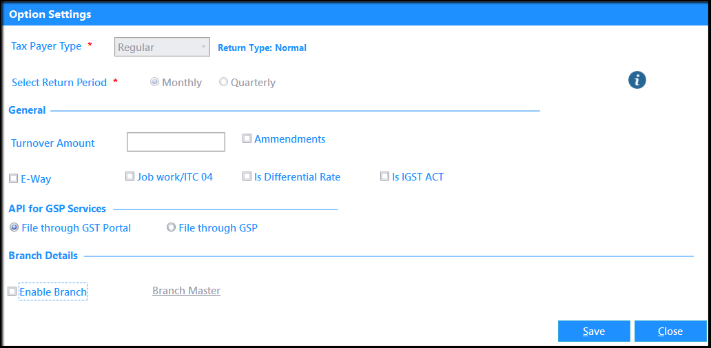 2.Switching to New GST Return in Saral GST - option