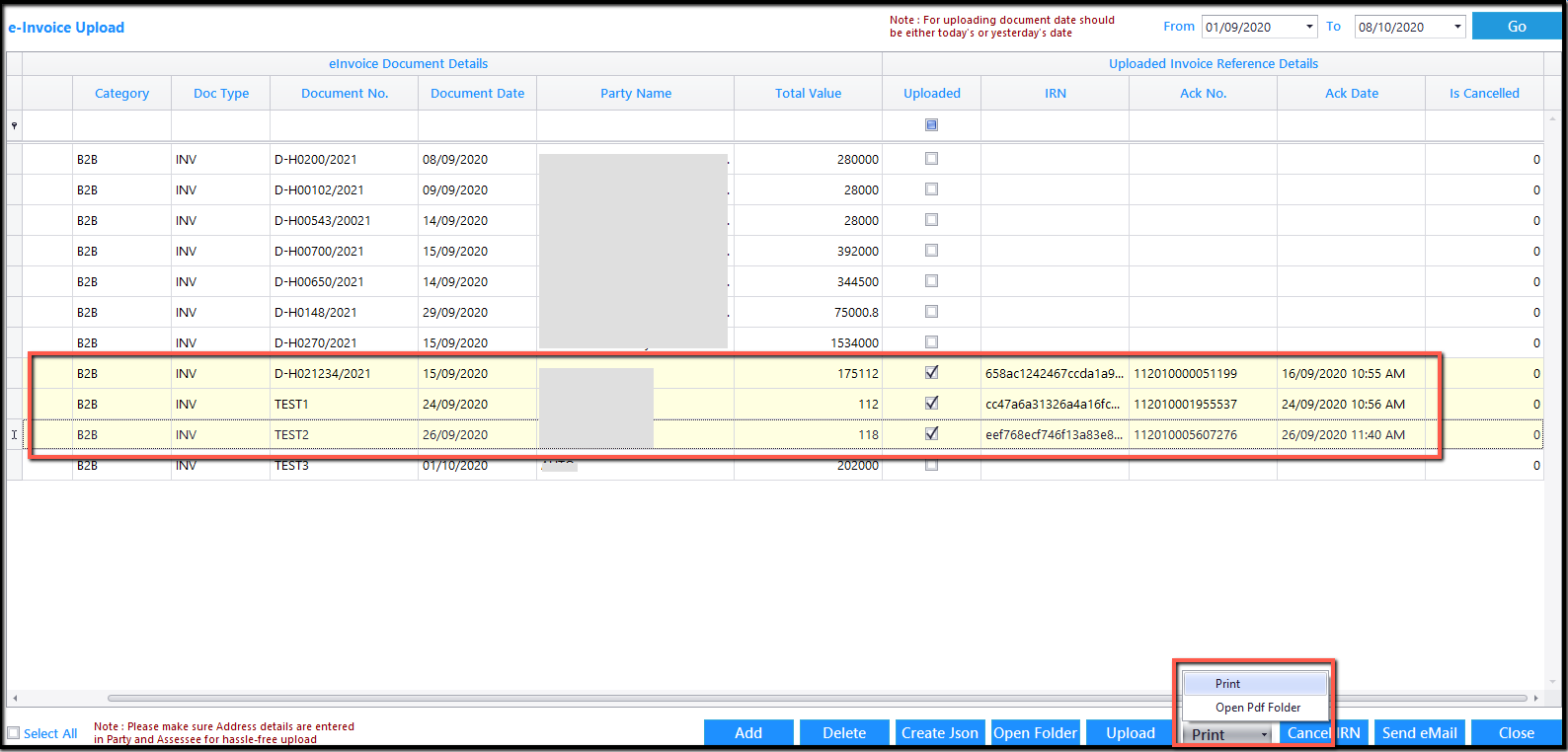 10. E-Invoicing details-Print