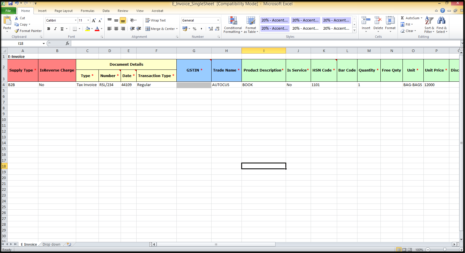 2. E-Invoicing details-Template