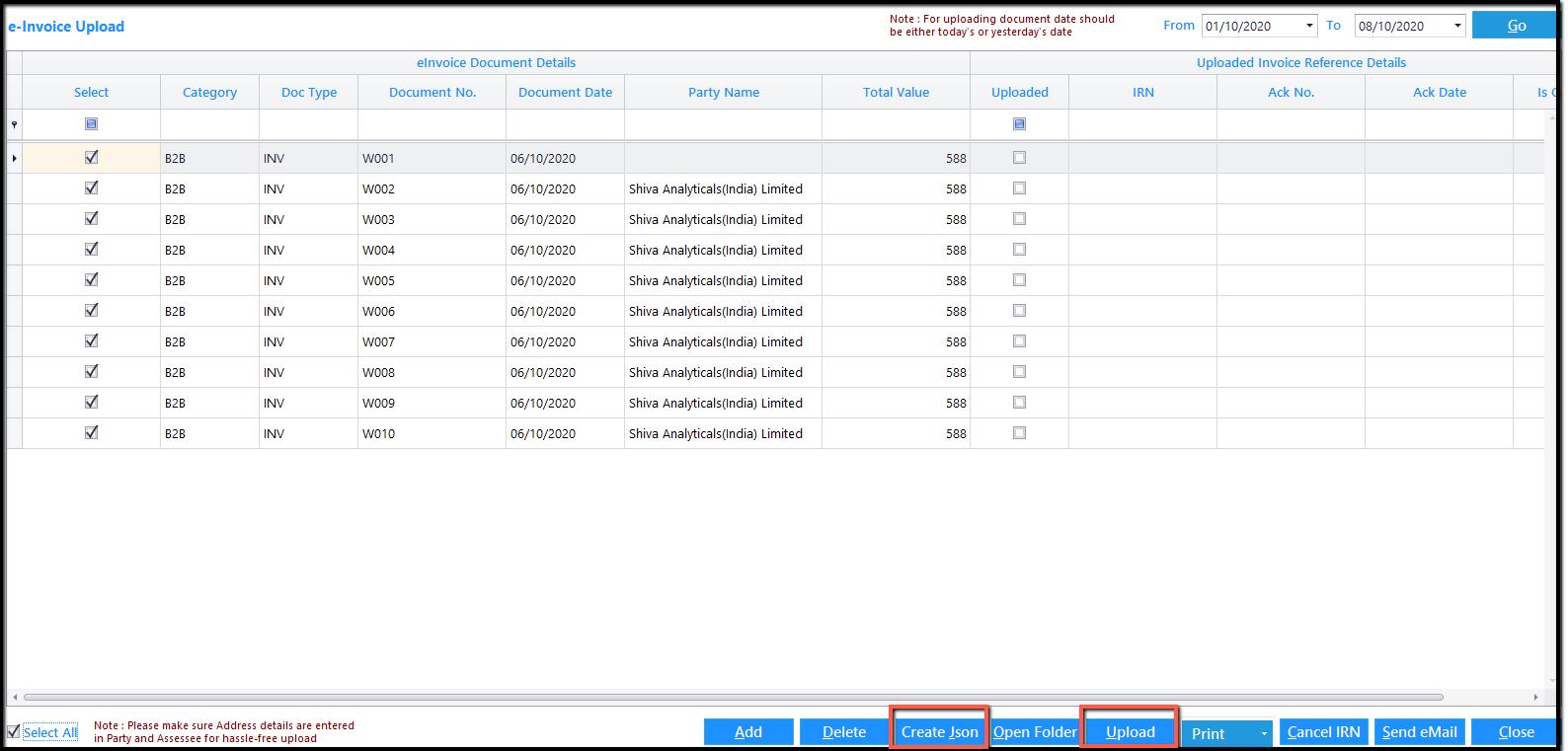9. E-Invoicing details-JSON