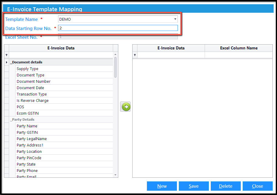3.Excel integration- Template Mapping