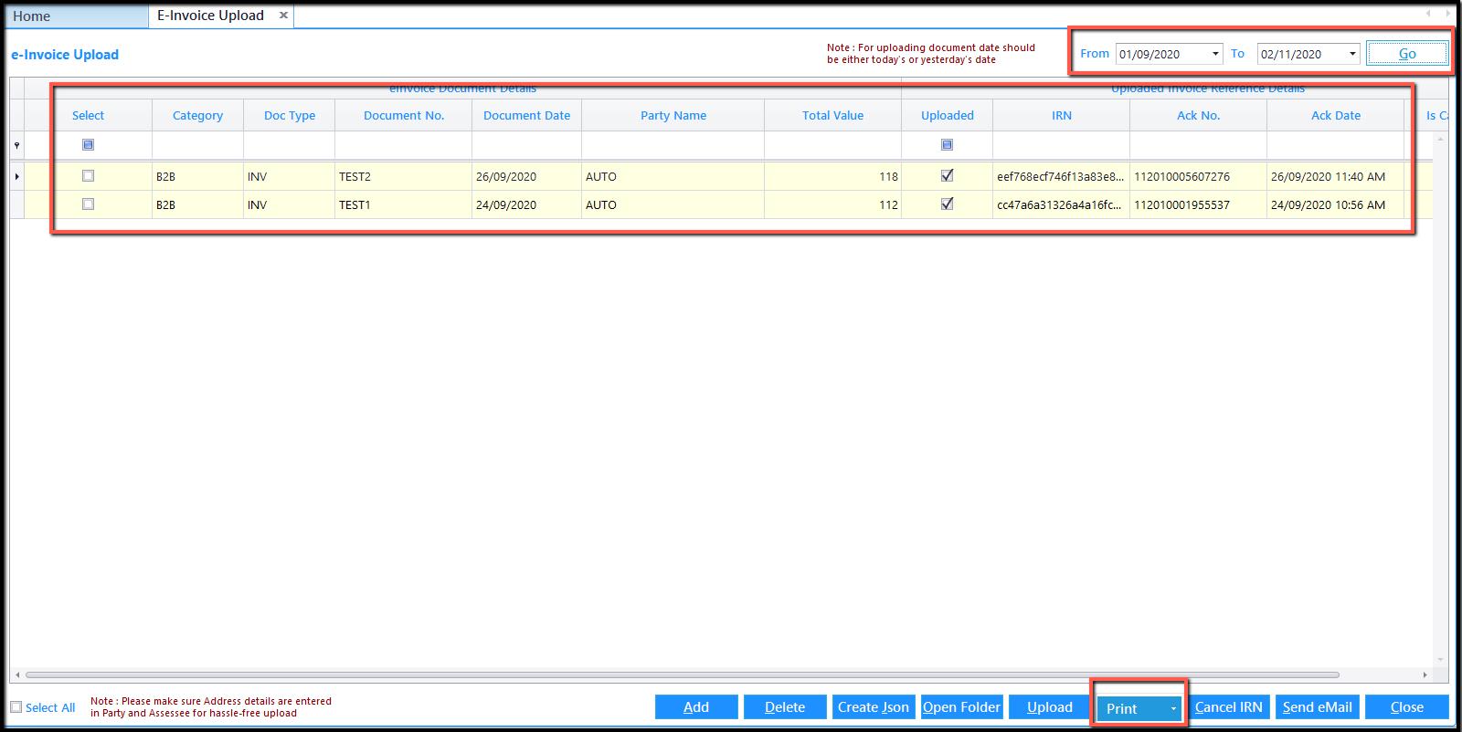 5.Database Integration- print e-invoice