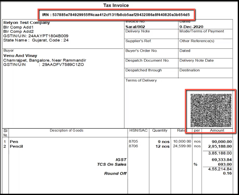 7.API integration for E-Invoicing in Tally-print invoice
